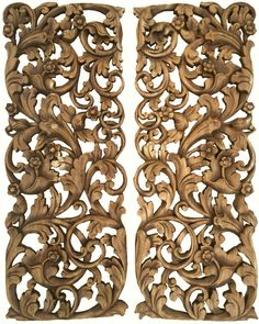 """Tropical Home Decor. Bali Home Decor. Floral Wall Art Panel. Wood Carving Headboard 35.5""""x13.5"""" Extra Thick. Set of 2. Color Options Available"""