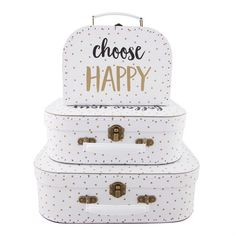 "Set de 3 valisettes de rangement à pois dorés ""Choose Happy"""