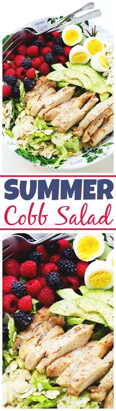 Summer Cobb Salad - A light filling salad loaded with sweet berries, avocado, blue cheese, eggs, and grilled chicken, all tossed in a zesty Italian Dressing. #ad