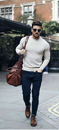 @rowanrow - with a fall combo idea with a beige sweater navy skinny jeans rayban sunglasses brown leather duffel bag brown leather boots #fallfashion #falloutfits #menswear #menstyle #mensapparel #dufflebag #rayban #mensfashion #sweater #boots