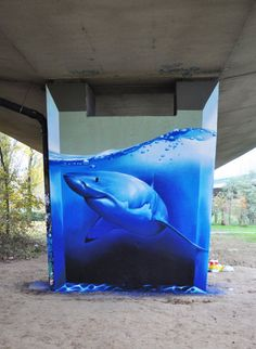 Freehand graffiti art (of a shark) made by Smates in the streets of Anderlecht, Belgium
