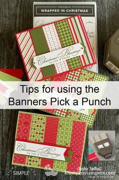Ready for some tips for using the 'Banners pick a punch' craft tool? This is the best craft punch for scrapbooking, card making and more. See what you can do with it at www.klompenstampers.com #bannerspickapunch #craftpunches #papercrafts #papercrafting #cardmakingideas #simplecards #easycardmaking #easycards #jackiebolhuis #klompenstampers #stampinupcards #stampinupchristmascards