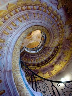 Beautiful spiral staircase at Melk Abbey, Austria (by debreczeniemoke).