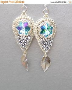 Check out Birthday discount Bead embroidery, Earring, Seed bead jewelry,  Fashionable earring, Trending jewelry,  Swarovski,  Silver,  Wedding on vicus