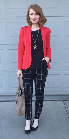 Blazer, Theory (via consignment); top, Theory (thrifted); pants, LOFT; shoes, Calvin Klein; bag, Marc Jacobs; necklace, Lulu Frost