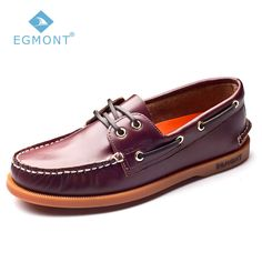 53980a6aa051 Egmont EG-09 Wine Red Spring Summer Boat Shoes Mens Casual Shoes Loafers  Genuine oil Wax Leather Handmade Comfortable Breathable