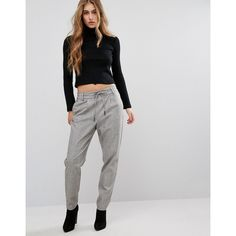 Only Drawstring Trouser (330 DKK) ❤ liked on Polyvore featuring pants, grey, stretch pants, print pants, stretchy pants, grey jeggings and low rise pants