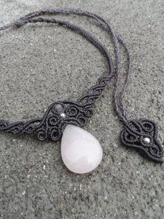 Rose Quartz - Macrame necklace, choker, stone size approx. 3.2cm / 2.2cm