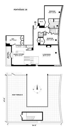 Here's the floorplan for 210 Lafayette PH-2B
