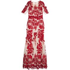 NOTTE BY MARCHESA Embroidered Gown ($1,524) ❤ liked on Polyvore featuring dresses, gowns, floral print dress, see through dress, red evening dresses, red dress and beaded gown