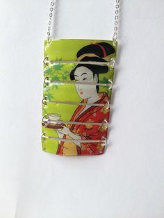 Bijoux recyclés - Collier sautoir japonais : Collier par miss-castafiore