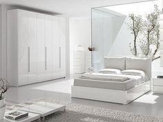 White modern bedroom design.