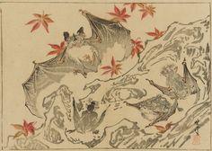 Bat Kawanabe Kyosai , (Japanese, 1831-1889) Meiji era Woodblock print; ink and color on paper H: 21.6 W: 28.9 cm Japan