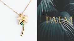 Palm tree necklace #gold & #green  Cool jewelry