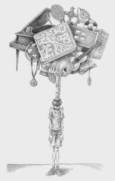 Este artista desenmascaró alasociedad moderna: sus obras son pesadas ehipnotizantes alavez Dark Art Drawings, Beautiful Drawings, Art Drawings Sketches, Abstract Pencil Drawings, Animal Drawings, Meaningful Drawings, Illustrator, Satirical Illustrations, Dark Art Illustrations