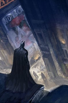 Arkham City concept art from the Batman game series, The environments match with the characters perfectly, the dark tones blend Batman into the background but still making him recognisable. And the lights and attractions create an even more sinister theme with the enemies below.