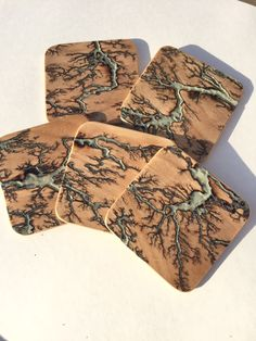 One of a kind drink coaster set. by Cloud9orBust on Etsy