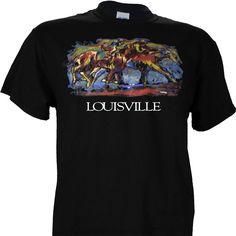 Horse Art Louisville Kentucky on a Black Short Sleeve Shirt