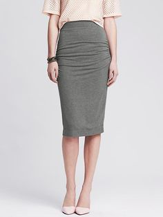 Ruched Black Jersey Pencil Skirt