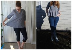 Refashioned shirt. From too big to perfect peplum. Super Simple Refashion.