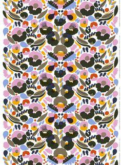Marimekko 'Hattarakukka' pink, blue, or brown PVC-coated cotton fabric. Textile Patterns, Textile Design, Fabric Design, Textiles, Floral Patterns, Pink Olive, Pink Yellow, Olive Green, Marimekko Fabric