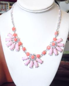 Coral and Pink Flower Statement Necklace Handmade Sterling Silver Crystal Pearl Strand Necklace  #1414 - pinned by pin4etsy.com