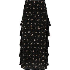 Black ditsy floral print tiered maxi skirt £20.00