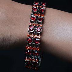 Stunning Silver Red Stones Studded  Bracelet