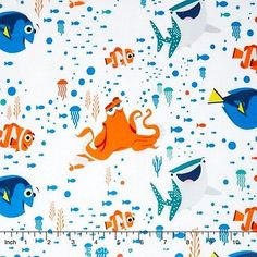 Camelot Disney Finding Dory Characters   Coral 100% cotton fabric by yard c71273b8bb0