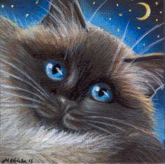 ArtBird.    Ragdoll Cat - Mini Painting in Acrylics