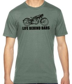 Life behind Bars, gifts for bikers, gift for him, motorcycle humor funny tees American Apparel 100% Cotton Fine Jersey T-Shirt RC14581
