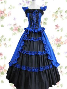 Blue and Black Sleeveless Floor-length Satin Cotton Classic Lolita Dress Lolita Fashion Customize $150.00 #Lovejoynet #Lolita #Fashion #Dress