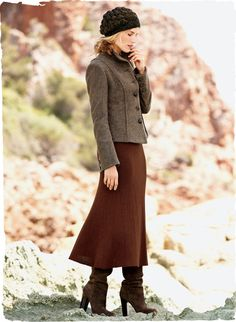 Peruvian Connection | Easy Pocket Skirt Our endlessly versatile #fit-and-flare skirt, knit in ribbed engineered gores of Russet baby alpaca and #wool
