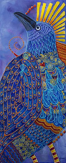 """RAVEN TOTEM 3, LAPIS LAZULI by Nancee Jean Busse Acrylic ~ 56 x 24-Contemporary Bird Fine Art Painting, """"RAVEN TOTEM 3, LAPIS LAZULI"""" by Colorado Artist Nancee Jean Busse, Painter of the American West"""