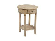 Pedestal redondo de madera con cajón