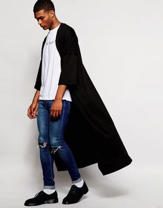 "Kimono by ASOS Soft-touch jersey Open front Wide-cut sleeves Super longline cut Cut longer than standard lengths Machine wash 100% Cotton Our model wears a size Medium and is 188cm/6'2"" tall"