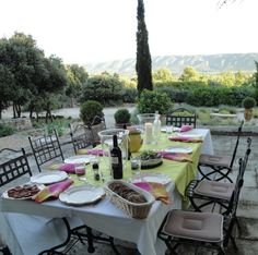 Dinner is served on the terrace at Les Murets.