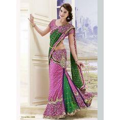 Designer By Pink And Green Fish Cut Lehenga Saree