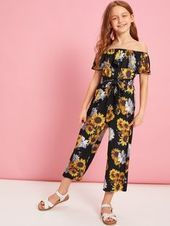 Girls Flounce Foldover Off Shoulder Floral Jumpsuit – Kidenhouse Dresses Kids Girl, Kids Outfits Girls, Cute Girl Outfits, Girls Fashion Clothes, Tween Fashion, Teen Fashion Outfits, Fashion Fashion, Jumpsuit For Kids, Jumpsuits For Girls