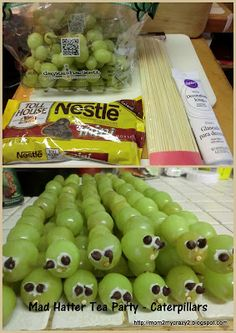 Mad Hatter Tea Party ... Caterpillars (Grapes on a kebab)