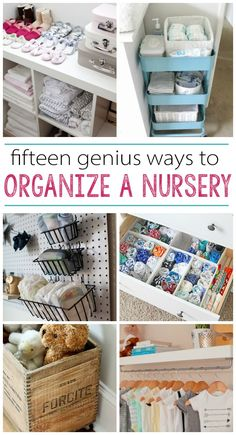 15 Nursery Organization Ideas - great resource for new parents Baby nursery organisation and storage ideas. Baby Nursery Organization, Room Organization, Organize Nursery, Organizing Baby Stuff, Organizing Baby Dresser, Organize Baby Clothes, Baby Bottle Organization, Diaper Organization, Diy Clothes