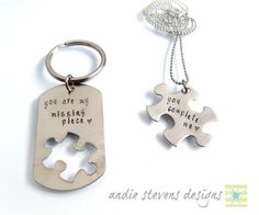 "Personalized Hand Stamped Couples Keychain by andiestevensdesigns, $35.00 | Note: ""You own a piece of my heart forever."""