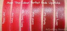 Review and swatches of Avon True Colour Perfect Reds Lipsticks