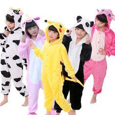 d4981562dd Kids Pajamas Onesies Animal Unicorn Stitch Pegasus Pikachu Pajamas For Boys  Girls Flannel Hooded Children Sleepwear