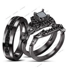 Princess & Round Cut 925 Silver 14K Black Sim Diamond His & Her Wedding Trio Set #aonedesigns