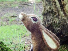 Moon Gazing hare. Needle felted Hare Sculpture by BenMcfuzzylugs