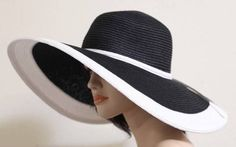 "Hot Fashion Black Floppy Debry 6"" Wide Brim Summer Sun Beach Hat White Band #QHeadwear #WideBrim"
