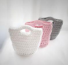 Cotton baskets, 100% handmade. Designed by Pracownia Lollipop. Order here: https://www.facebook.com/PALollipop