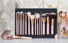 Luxe rose gold - looks amazing on any makeup table or dresser! Brow Brush, Contour Brush, Makeup Brush Holders, Makeup Brush Set, Makeup Needs, Makeup Yourself, Dresser, Rose Gold, Storage
