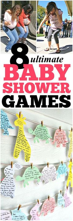 Great list of fun baby shower ideas! 8 amazing games like Guess the Item, The Price is Right and How Big is Her Belly!